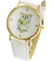 reloj blanco buho sasmon re-30702