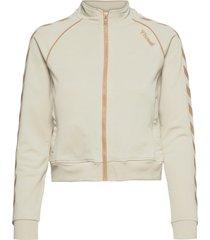 hmlziba short zip jacket sweat-shirt tröja vit hummel