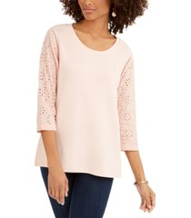 style & co eyelet-sleeve cotton top, created for macy's