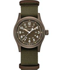 hamilton khaki field mechanical nato strap watch, 38mm