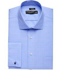 pronto uomo blue & pink plaid french cuff modern fit dress shirt