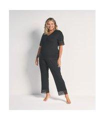 conjunto blusa manga longa e calça viscolycra com renda curve e plus size preto