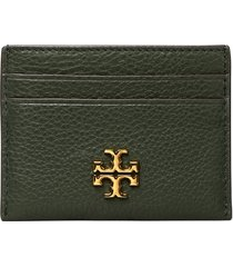 women's tory burch kira pebbled leather card case - grey