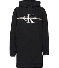 gold monogram hoodie dress kort klänning svart calvin klein jeans