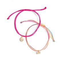 nordstrom set of 2 charm friendship bracelets in hot pink- multi- gold bff at nordstrom
