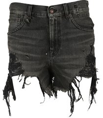 r13 distressed ripped denim shorts