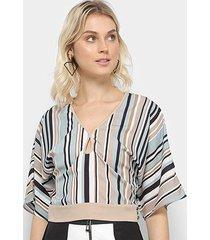 blusa acostamento top cropped listras feminina