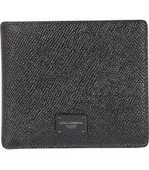 dolce & gabbana logo plaque classic bifold wallet