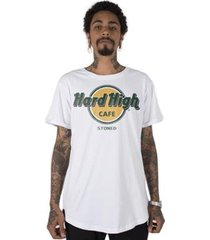camiseta longline stoned hard high café masculina