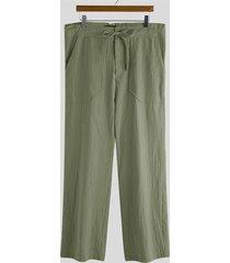 incerun hombres algodón lino transpirable suelto holgado casual pantalones