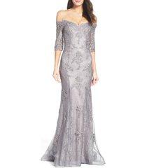 women's la femme off the shoulder lace mermaid gown, size 16 - grey