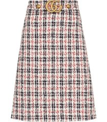 gucci gg belt a-line tweed skirt - multicolour