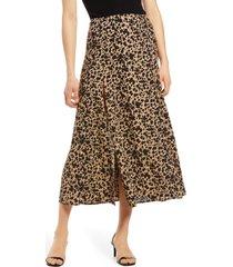women's reformation zoe side slit midi skirt, size 8 - brown