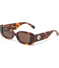 tortoiseshell effect acetate frame rectangular sunglasses