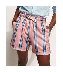 short de moletom masculino listrado com cordão e bolsos rosa