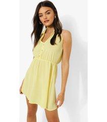 mouwloze blouse jurk met kraag, yellow