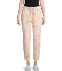splendid women's cotton-blend jogger pants - palm print - size s