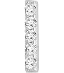 diamond accent vertical bar single stud earring in 14k white gold