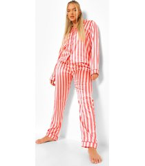 gestreepte satijnen pyjama, nude