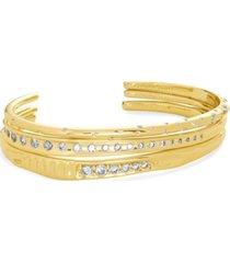 kendra scott 14k gold-plated 3-pc. set cubic zirconia cuff bracelets