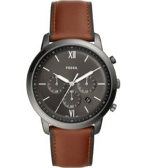 fossil mens neutra chrono gray case with brown leather strap