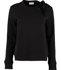 red valentino cotton crew-neck sweatshirt