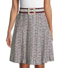 faux pearl-embellished tweed skirt