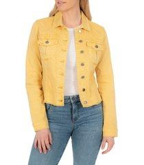 women's kut from the kloth kara fray hem denim trucker jacket, size large - yellow