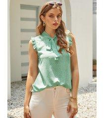 blusa sin mangas con ribete de volantes y diseño de lunares yoins