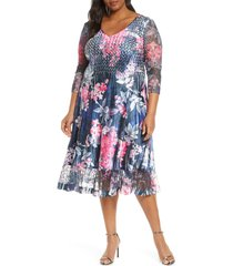 plus size women's komarov floral lace sleeve satin charmeuse dress
