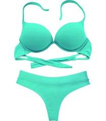 biquíni bojo bolha alça estreita divance calcinha fio dental cós duplo verde água