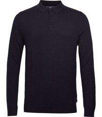 riley knitted long sleeve polo polos long-sleeved blauw lexington clothing