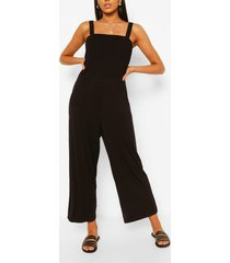 square neck strappy wide leg casual jumpsuit, black