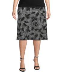 kasper plus size tropical-print skirt