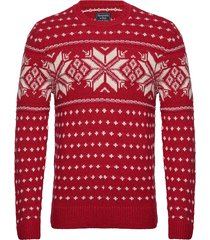 snowflake crew stickad tröja m. rund krage röd abercrombie & fitch