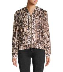 roberto cavalli sport women's ocelot-print fleece hoodie - brown beige - size s