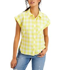 style & co cotton gingham camp shirt, created for macy's