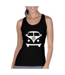 camiseta regata criativa urbana carro antigo clássico kombi preta