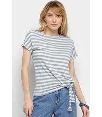 blusa cantão listrada nó feminina - feminino