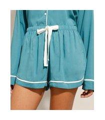 short de pijama em viscose com laço e vivo contrastante verde
