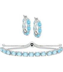 2-pc. set amethyst small hoop earrings and bolo bracelet (7-1/5 ct. t.w.) in sterling silver (also in rhodolite garnet, peridot, blue topaz & multi-stone)