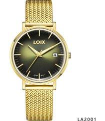 reloj para hombre marca loix ref. la2001-2 dorado/verde