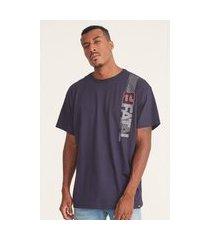 camiseta fatal plus size estampada azul