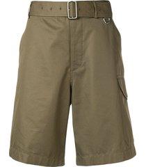 alexander mcqueen belted bermuda shorts - green