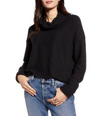 women's treasure & bond cowl neck pullover, size x-small - black