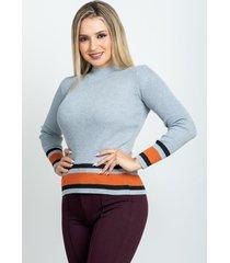 sweater con franja gris 609 seisceronueve