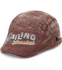 berretto da baseball piatto da cowboy con ricamo berretto vintage lavato da uomo
