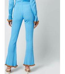 holzweiler women's dahlia knit trousers - light blue - l