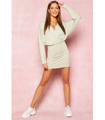recycled drop sleeve plunge mini dress, olive