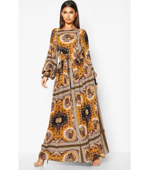 maxi jurk geplooide taille, opdruk en grote kraag, woestijnzand
